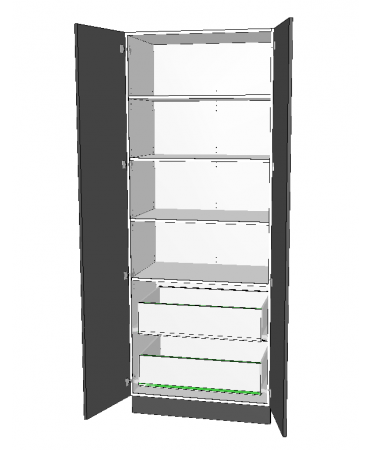 2 Door Pantry With 2 Inner Drawer - Premium Custom