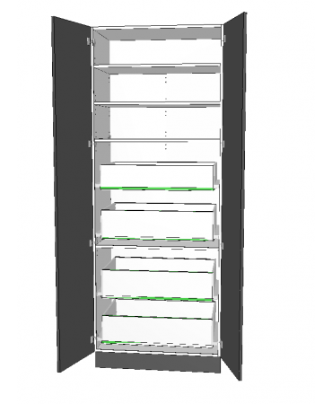 2 Door Pantry With 4 Inner Drawer - Premium Custom