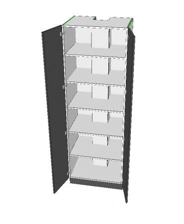 2 Door Pantry With Middle Stack - Premium Custom