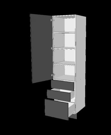 1 Door Pantry With 2 Small + 1 Pot  Drawers -  Premium Custom