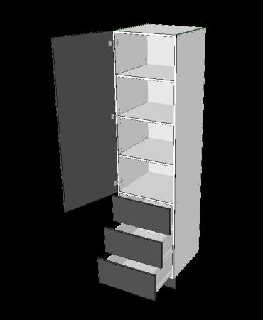 2 Door Pantry With 3 Equal External Drawers - Premium Custom