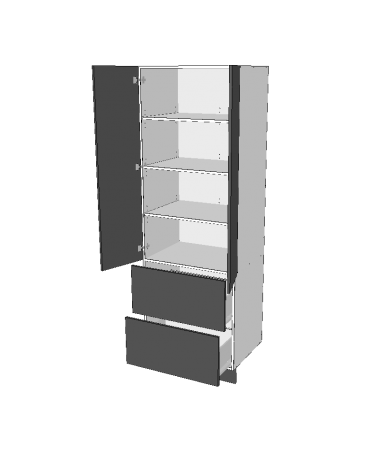2 Door Pantry With 2 Equal External Drawers - Premium Custom