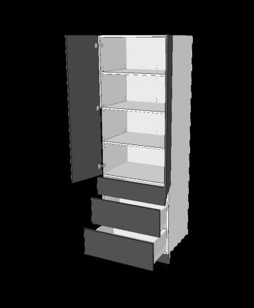 2 Door Pantry With 1 Small + 2 Pot  Drawers -  Premium Custom