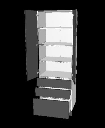 2 Door Pantry With 2 Small + 1 Pot  Drawers -  Premium Custom