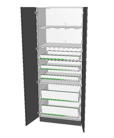 2 Door Pantry With 5 Inner Drawer - Premium Custom