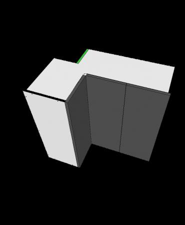 3 Door Top Corner Cabinet With Stack - Premium Custom