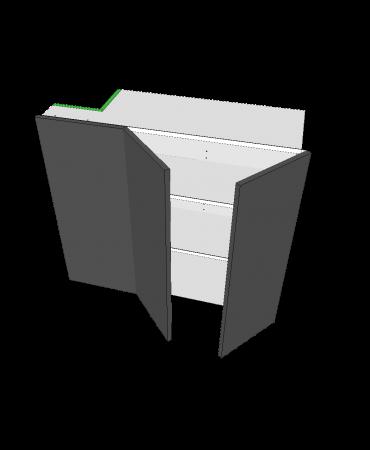 Blind Top Corner - 2 Door With Left Stack - Premium Custom